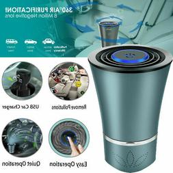 USB Car Air Purifier True HEPA Filter LED Portable Air Clean